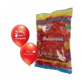 100lü 12 İnç Seni Seviyorum Baskılı Çift Yüzlü Kırmızı Balon