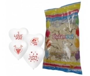 100lü I Love You Çift Yüz Baskılı Beyaz Kalp Balon