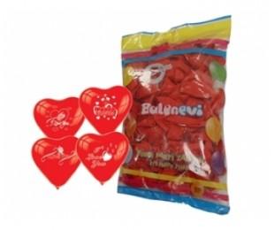 100lü I Love You Çift Yüz Baskılı Kırmızı Kalp Balon