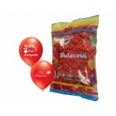100lü Kırmızı Çift Yüz Baskılı Seni Seviyorum Kalp Balon