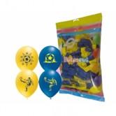 100lü 12 inç Tek Renk Sarı Lacivert Adam Taraftar Baskılı Balon