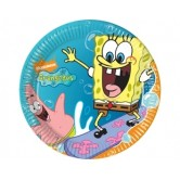 10 Adet 23 Cm. Sponge Bob Surfing Kağıt Tabak