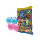 12 İnç 1+1 Happy Birthday Karışık Pastel Renk Balon