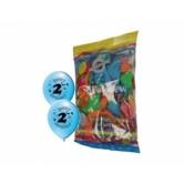 12 İnç 2 Yaş Happy Birthday Baskılı Karışık Pastel Renk Balon