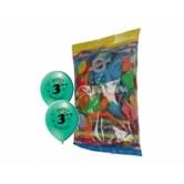 12 İnç 3 Yaş Baskılı 1+1 Happy Birthday Karışık Pastel Renk Balon