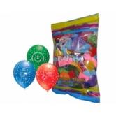 12 İnç Çepeçevre İyiki Doğdun Baskılı Karışık Pastel Renk Balon