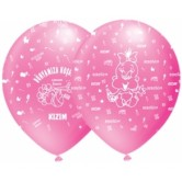 12 İnç Dünyamıza Hoşgeldin Kızım Çepeçevre Baskılı Balon
