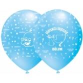 12 İnç Dünyamıza Hoşgeldin Oğlum Çepeçevre Baskılı Balon