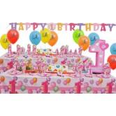 16 Kişilik First Birthday Pink Lüks Set