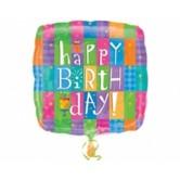 18 inç Happy Birthday Colourful Patterns Folyo Balon