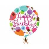 18 İnç Happy Birthday Polka Dots Folyo Balon