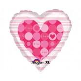 18 inç I Love Messages in Pink Dot (Ses Kayıt Edilebilen) Folyo Balon