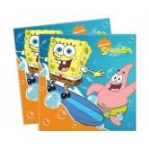 20 Adet 33x33 Cm. Sponge Bob Surfing Kağıt Peçete