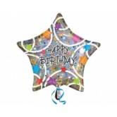 32 İnç Happy Birthday Stars Folyo Balon