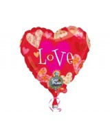 32 inç Floral Hearts Love Müzikli Folyo Bal..