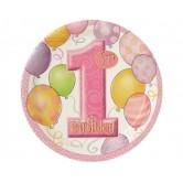 8 Adet 23 Santim First Birthday Balloons Pink Tabak