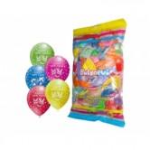 Pastel Karışık Renk 12 inç Çepeçevre Baskılı Happy New Year Balon