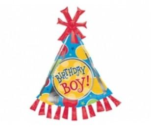 Supershape Birthday Boy Party Hat Folyo Balon
