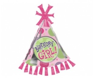 Supershape Birthday Girl Party Hat Folyo Balon
