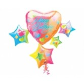 SuperShape Sparkle Hearts Birthday Cluster Folyo Balon
